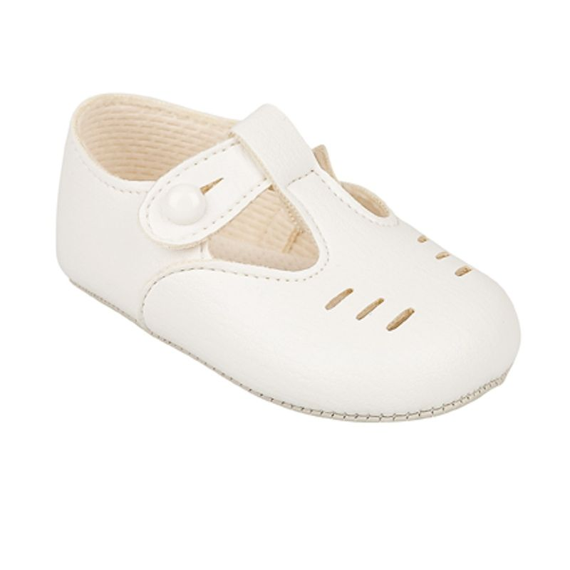 BABY SHOES SOFT SOLE BAYPOD T-BAR BUTTON FASTENING MADE IN UK