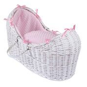 Wicker Noah Pod In White With Pink Dimple Liner