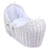 Wicker Noah Pod In White With White Dimple Liner